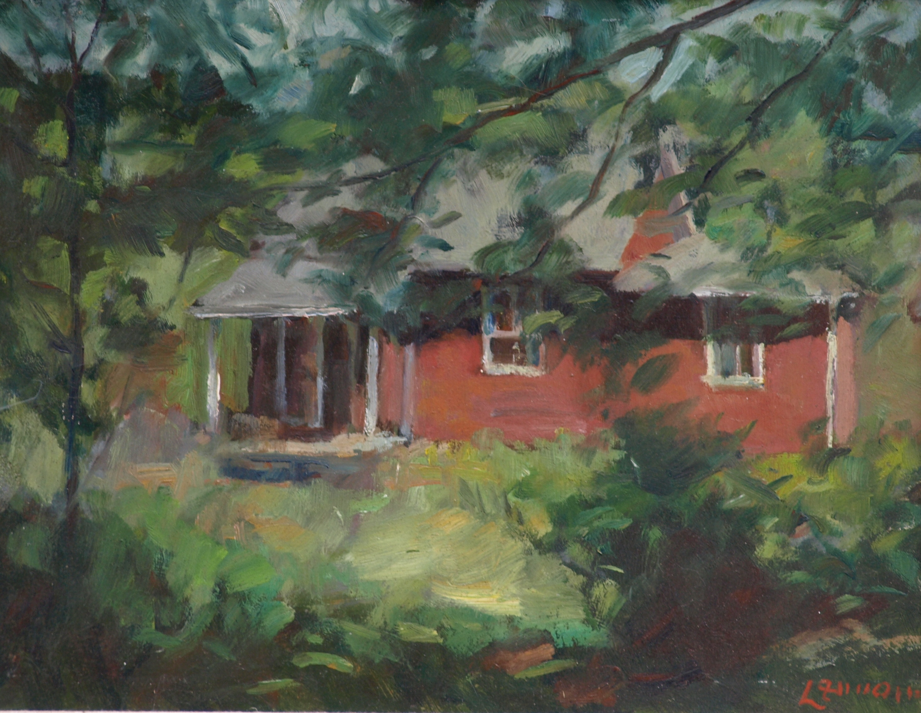 Artist's House, Oil on Panel, 14 x 18 Inches, by Bernard Lennon, $350