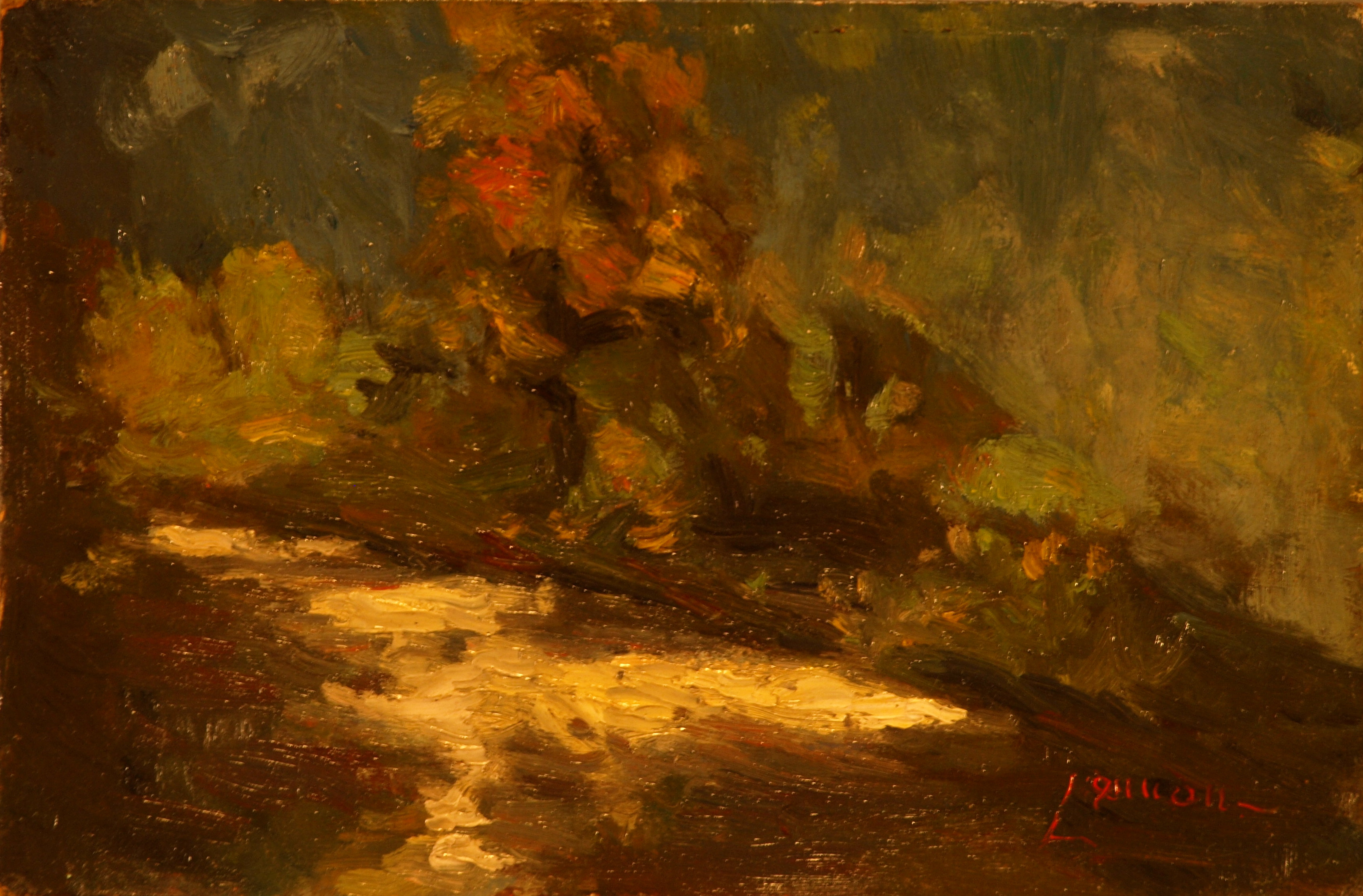 River Reflections, Oil on Panel, 8 x 12 Inches, by Bernard Lennon, $225