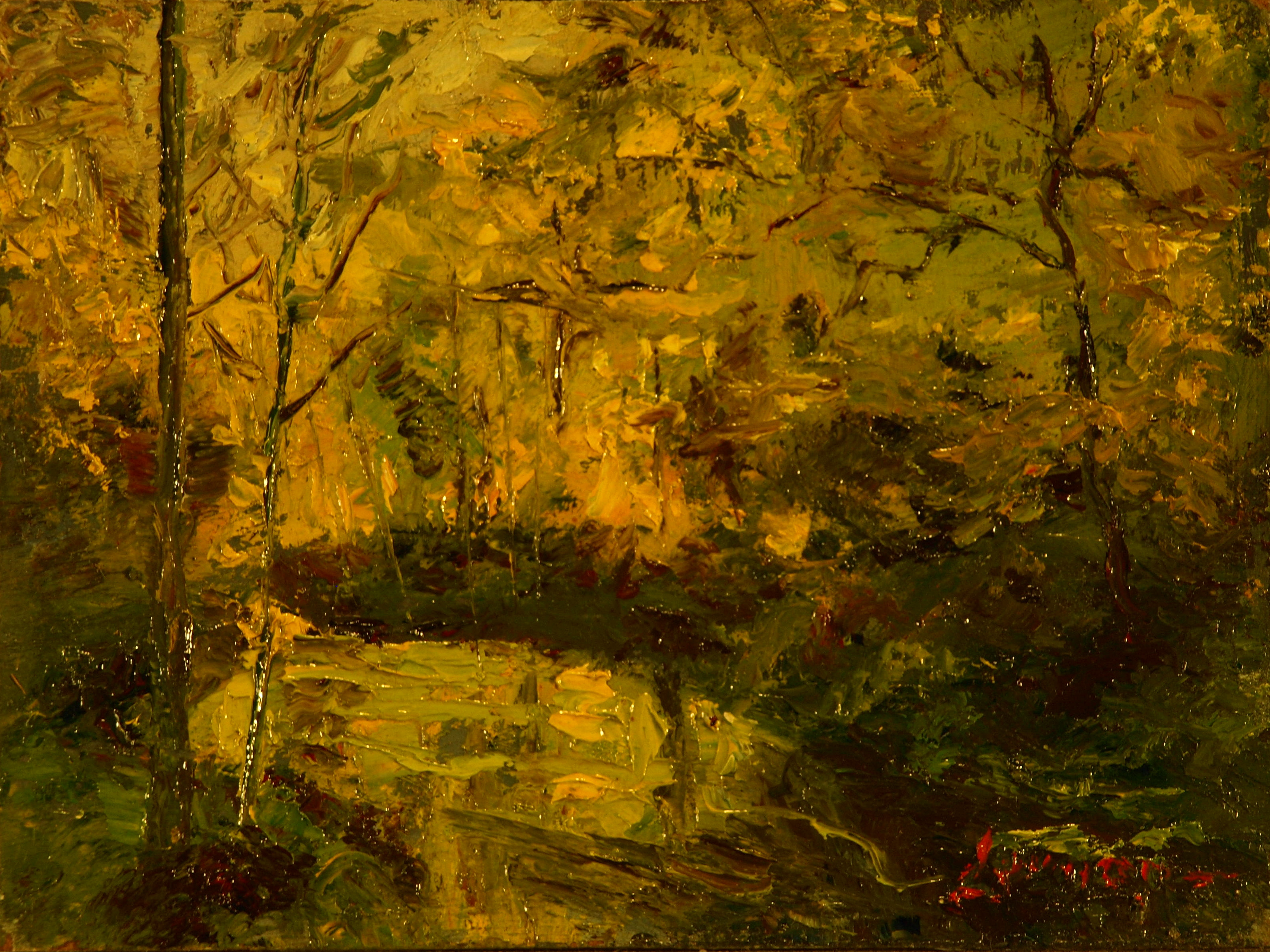 Spring by the Brook, Oil on Panel, 6 x 8 Inches, by Bernard Lennon, $175