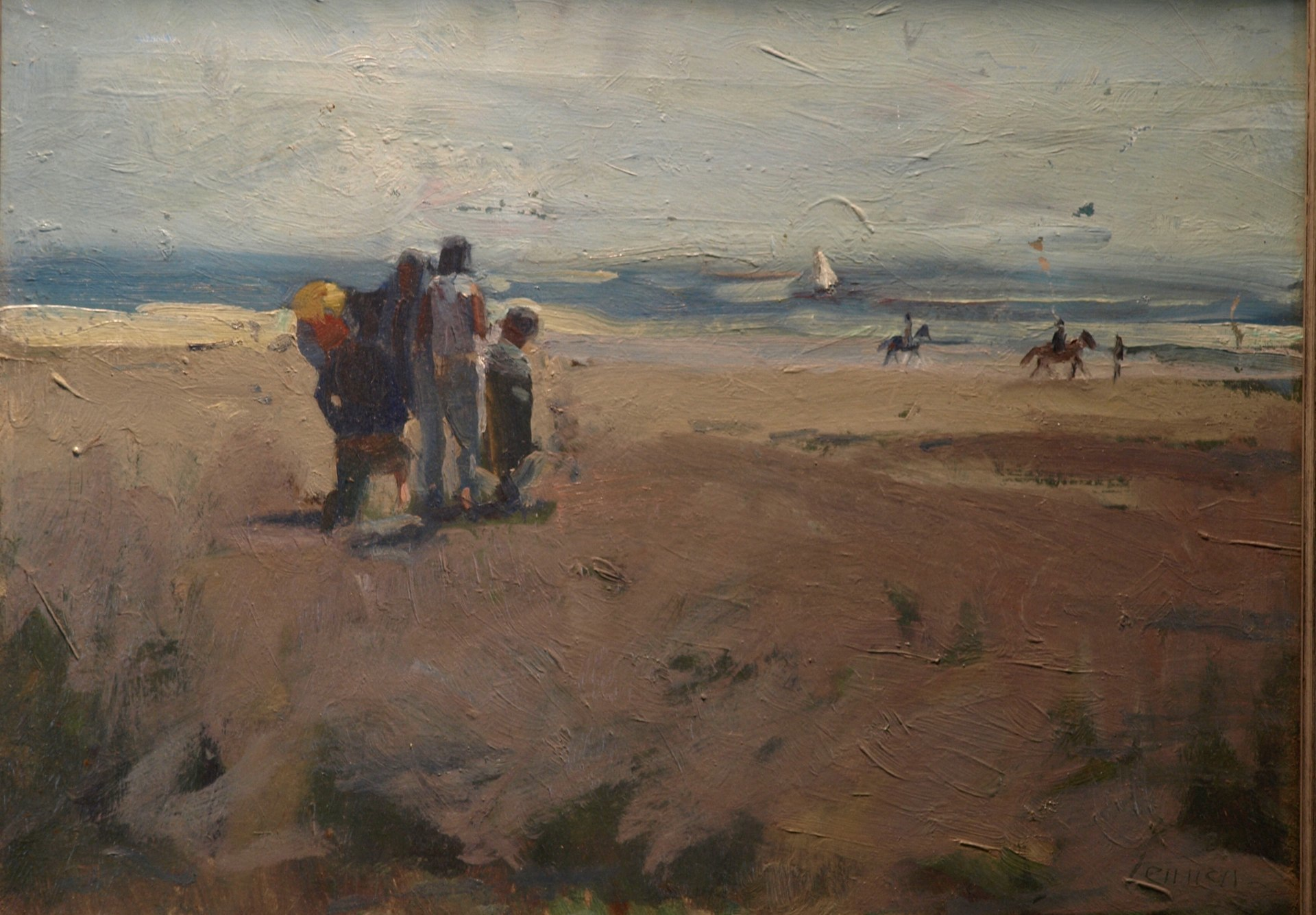 Day at the Beach, Oil on Canvas, 14 x 18 Inches, by Bernard Lennon, $375