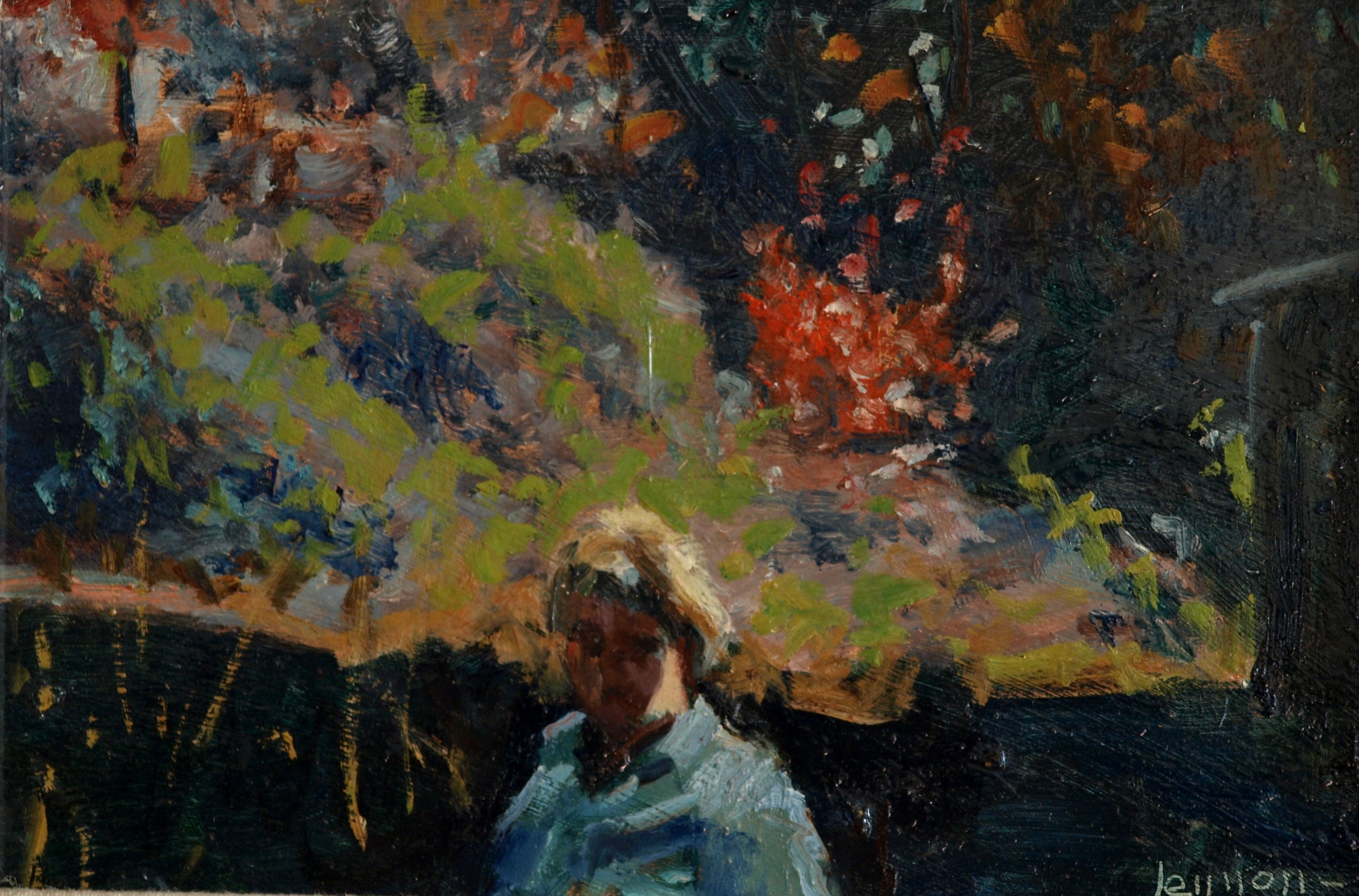 Foreground Figure, Oil on Panel, 8 x 12 Inches, by Bernard Lennon, $225