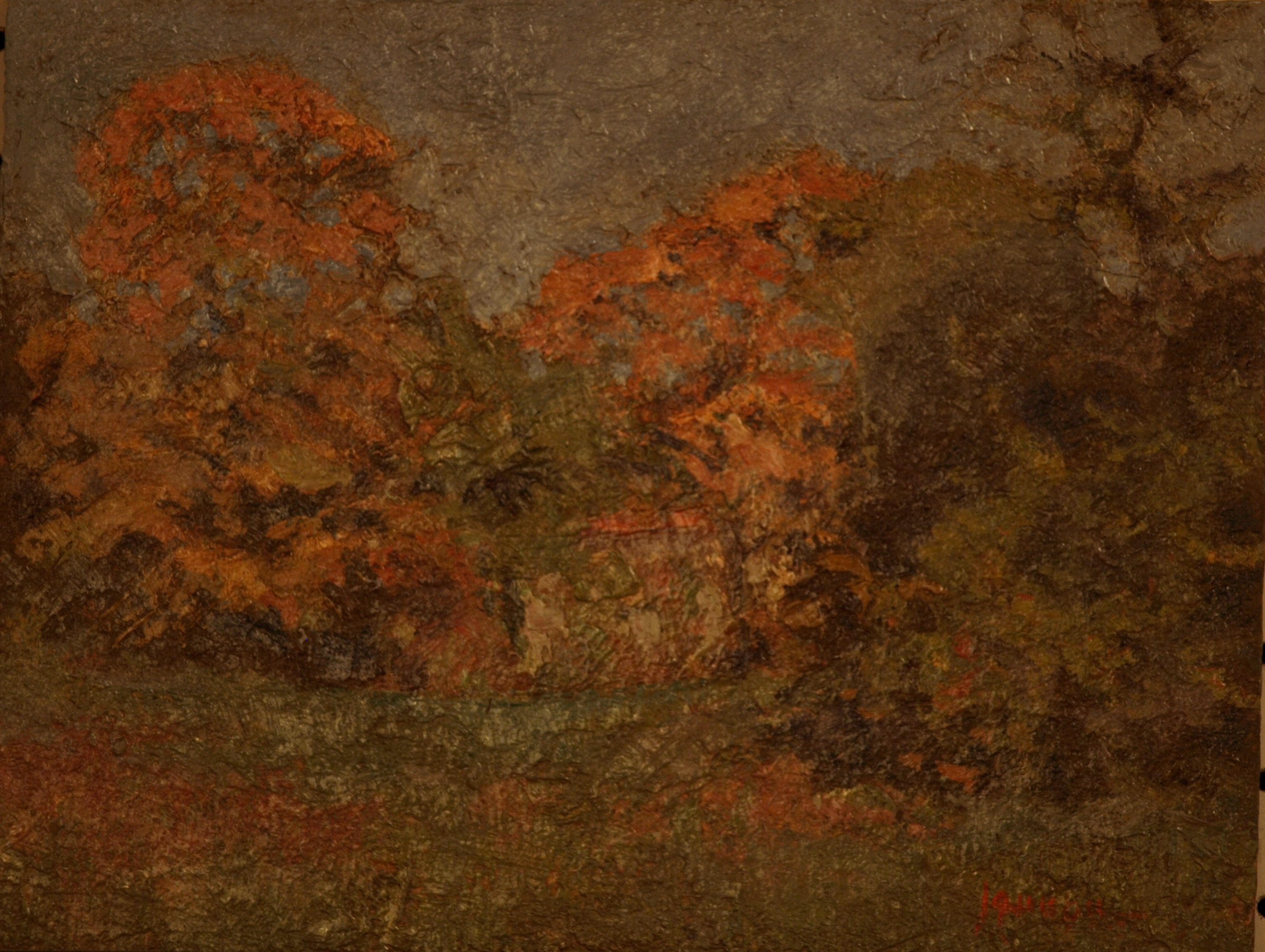 October Landscape, Oil on Panel, 8 x 10 Inches, by Bernard Lennon, $850