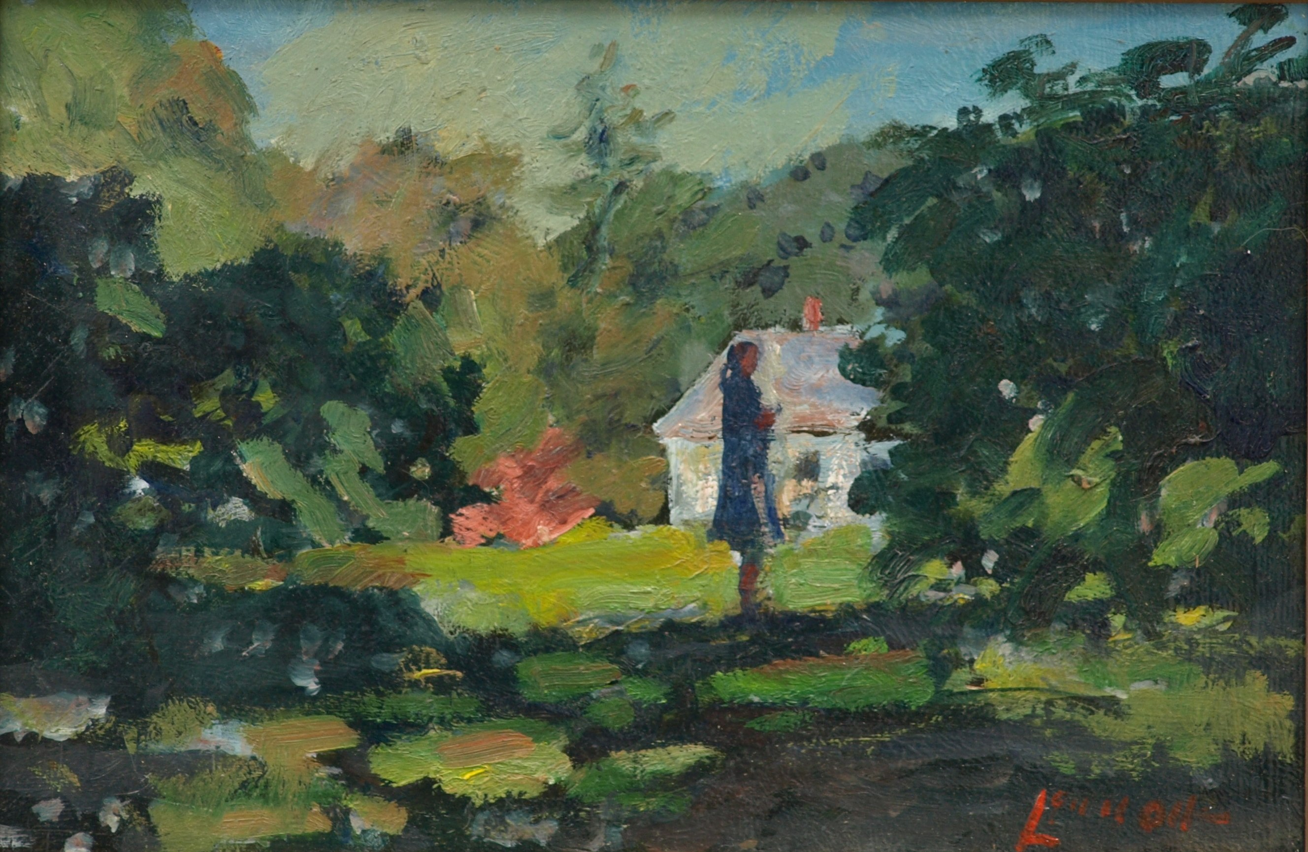 Pausing Near the Farm, Oil on Panel, 8 x 12 Inches, by Bernard Lennon, $200