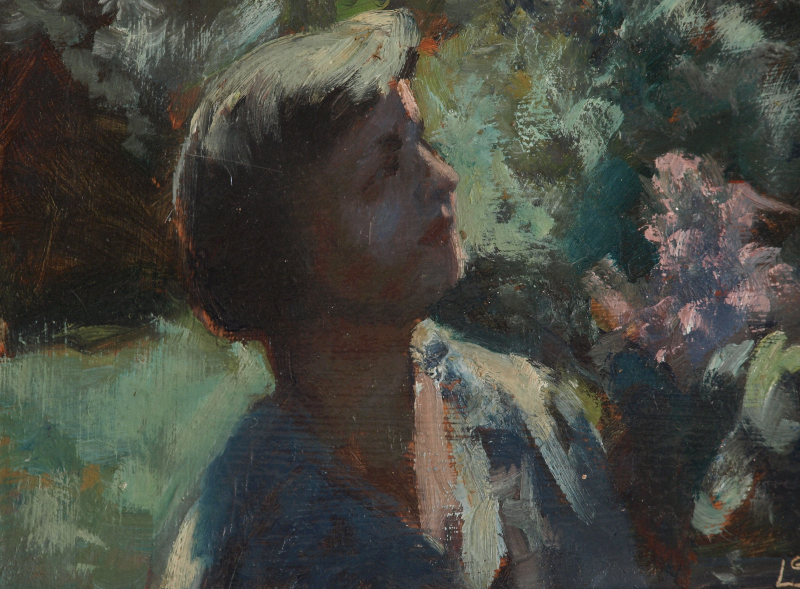 Ruth Smelling Lilacs, Oil on Panel, 8 x 12 Inches, by Bernard Lennon, $225