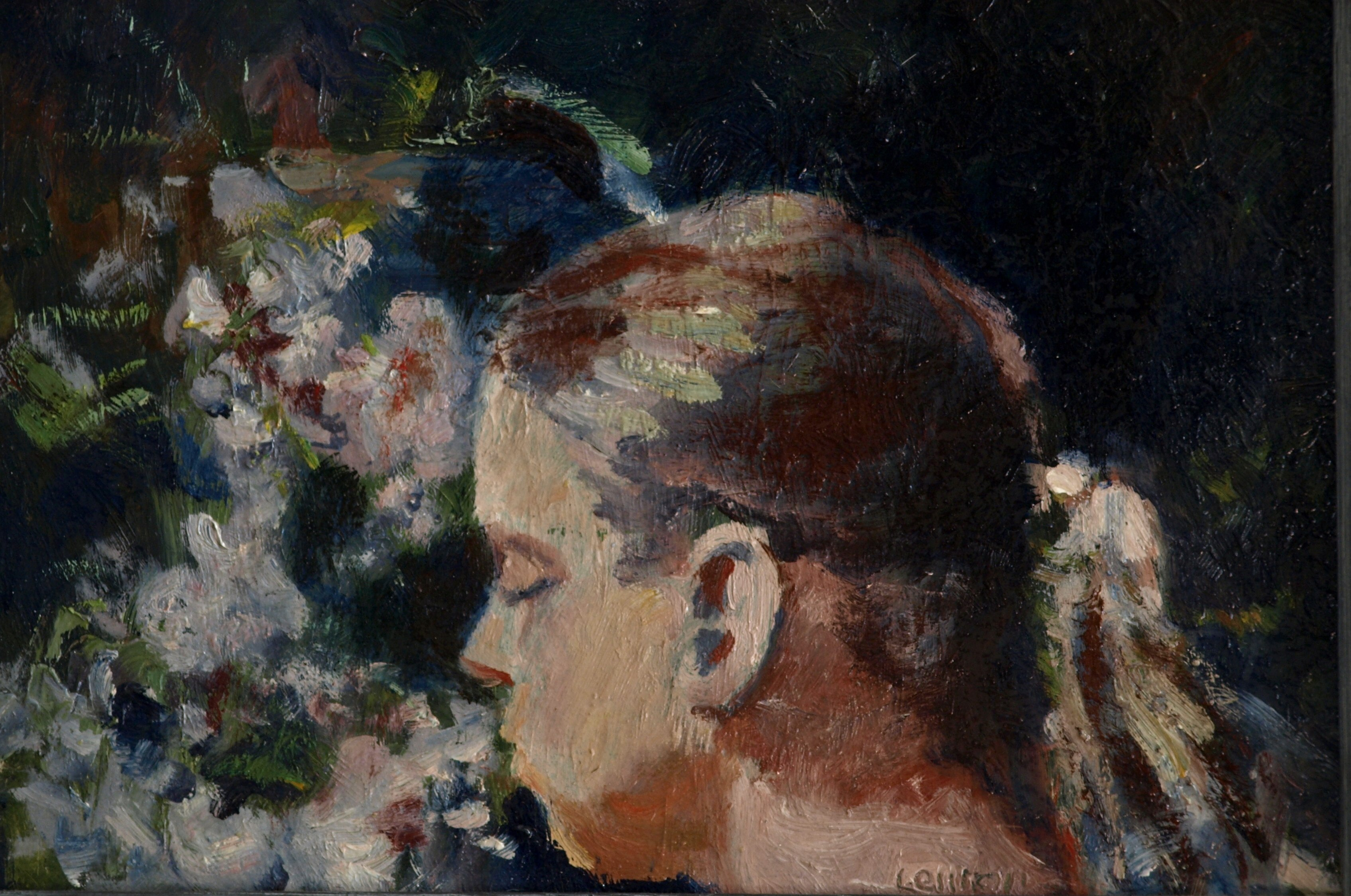 Sue with Flowers, Oil on Panel, 8 x 12 Inches, by Bernard Lennon, $225