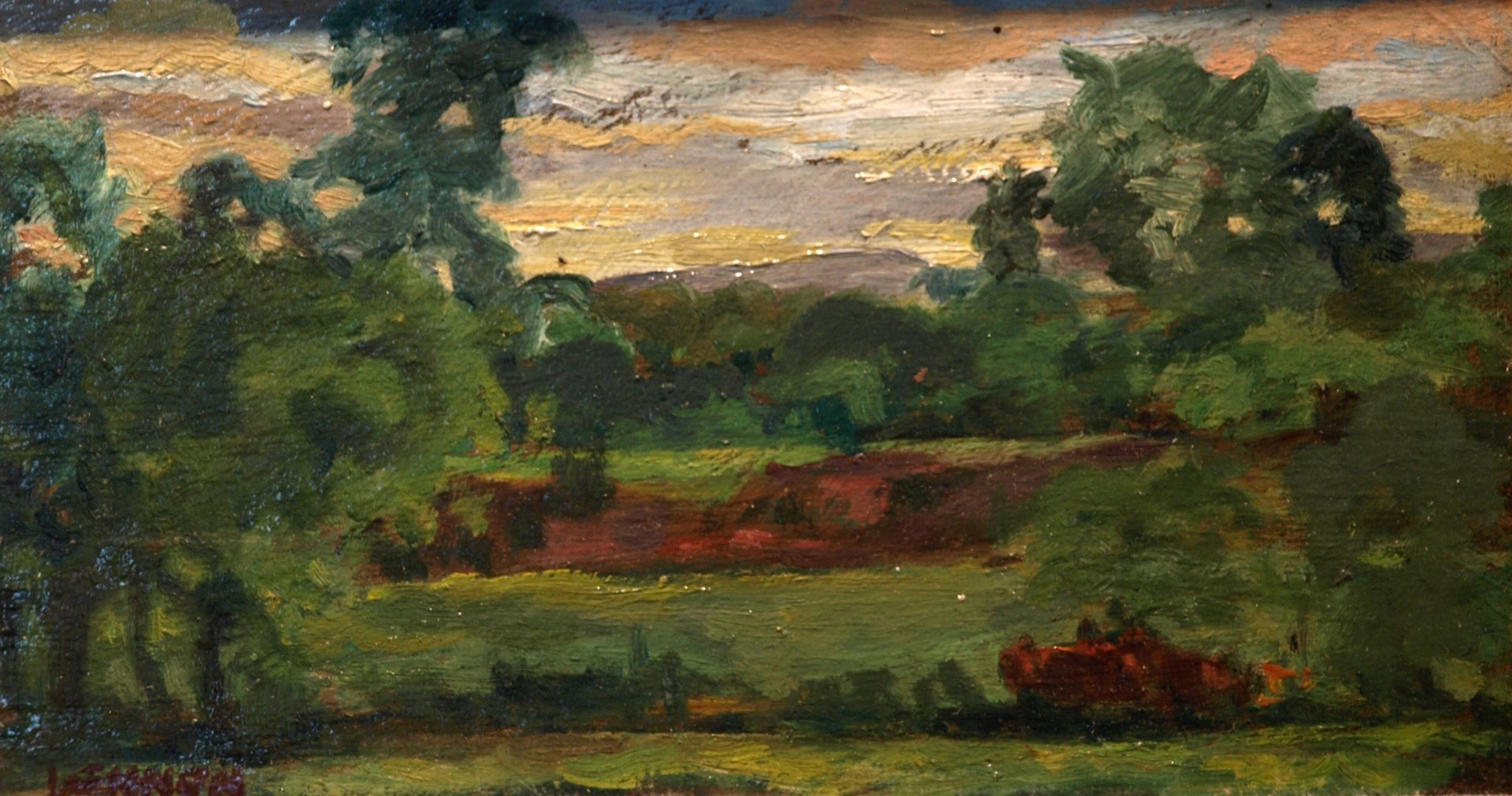Sunset Sky - Summer, Oil on Panel, 6 x 10 Inches, by Bernard Lennon, $225