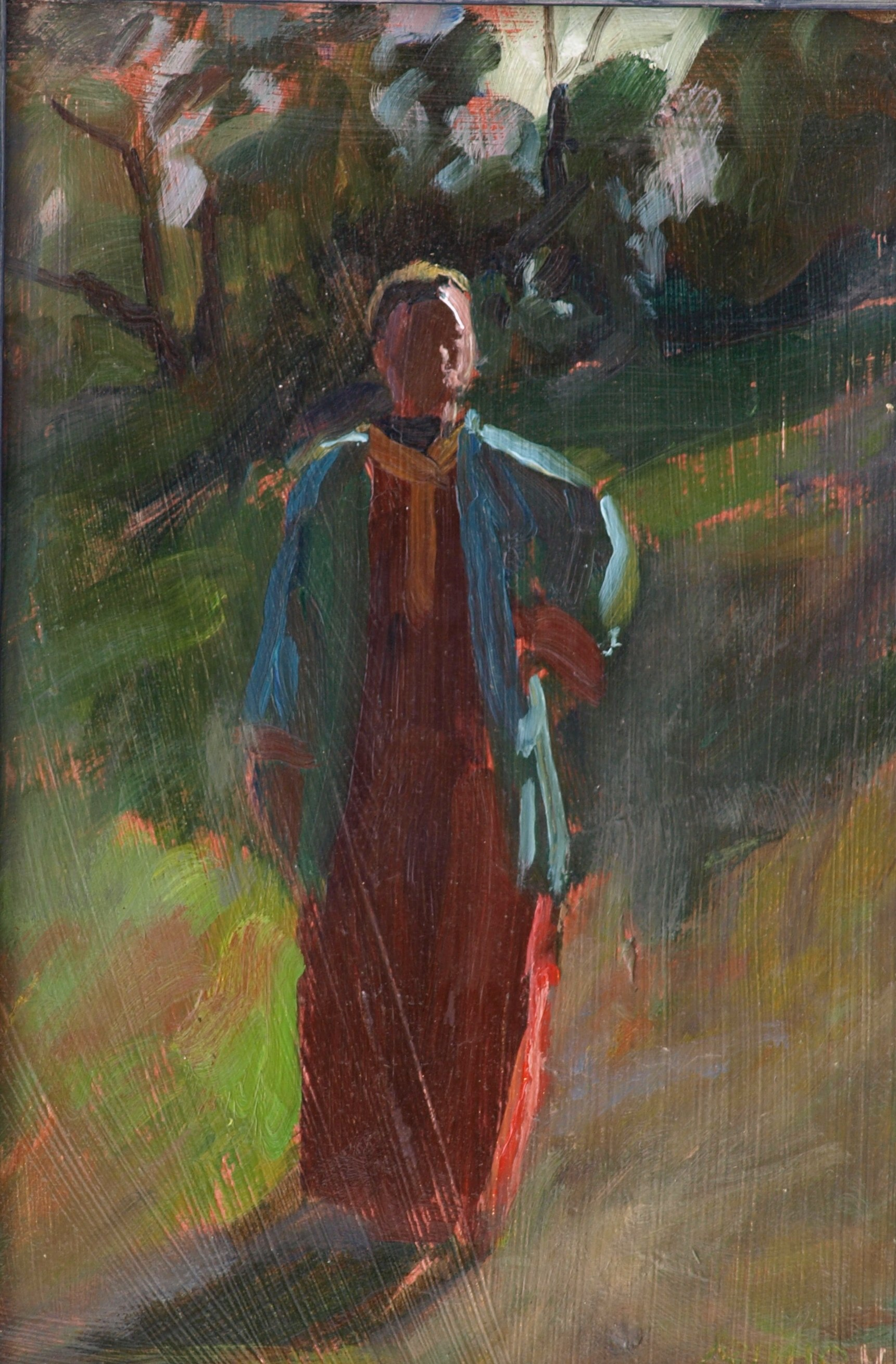 The Red Dress, Oil on Panel, 12 x 8 Inches, by Bernard Lennon, $200