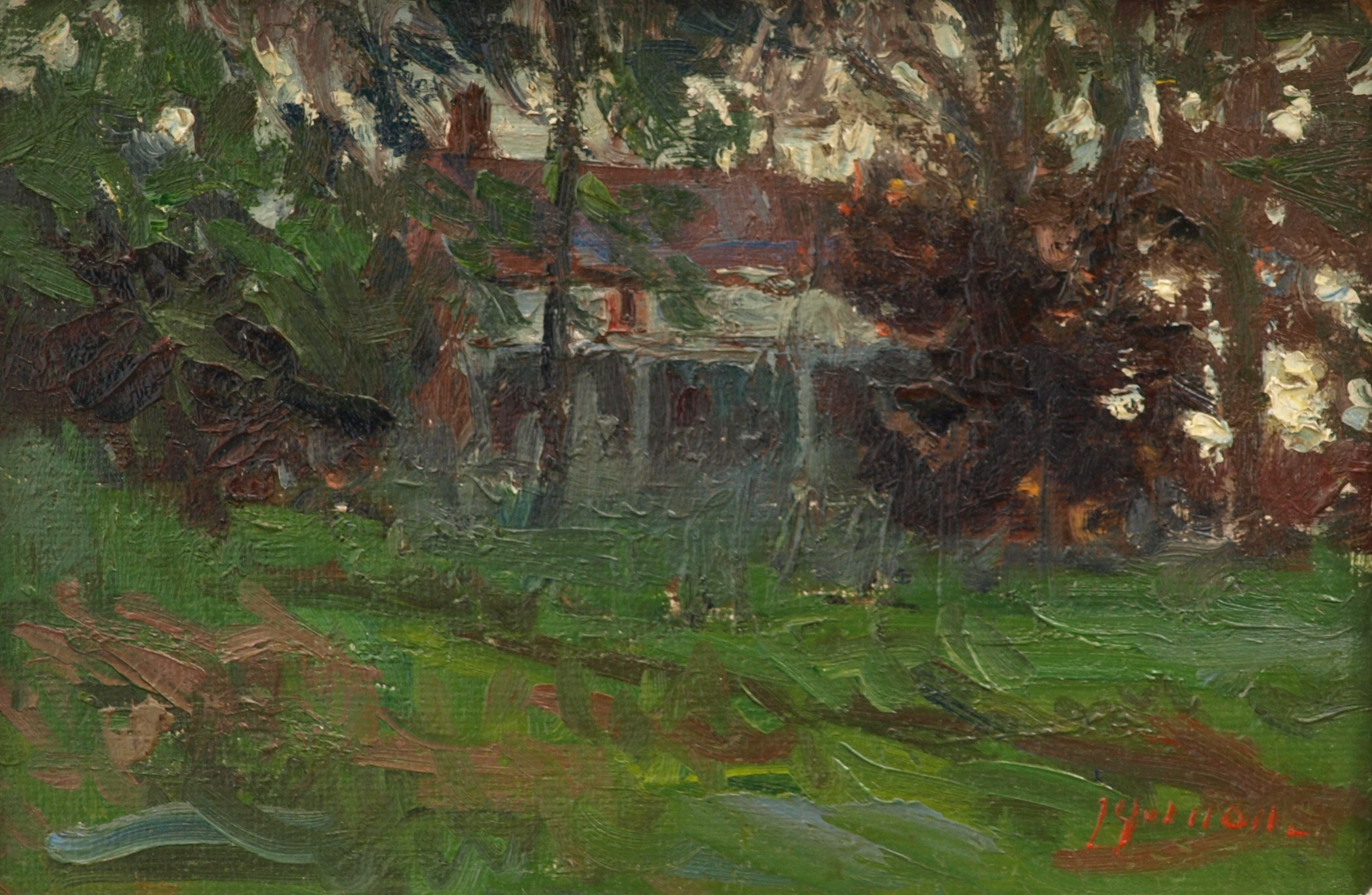 The Strid House, Oil on Panel, 8 x 12 Inches, by Bernard Lennon, $200