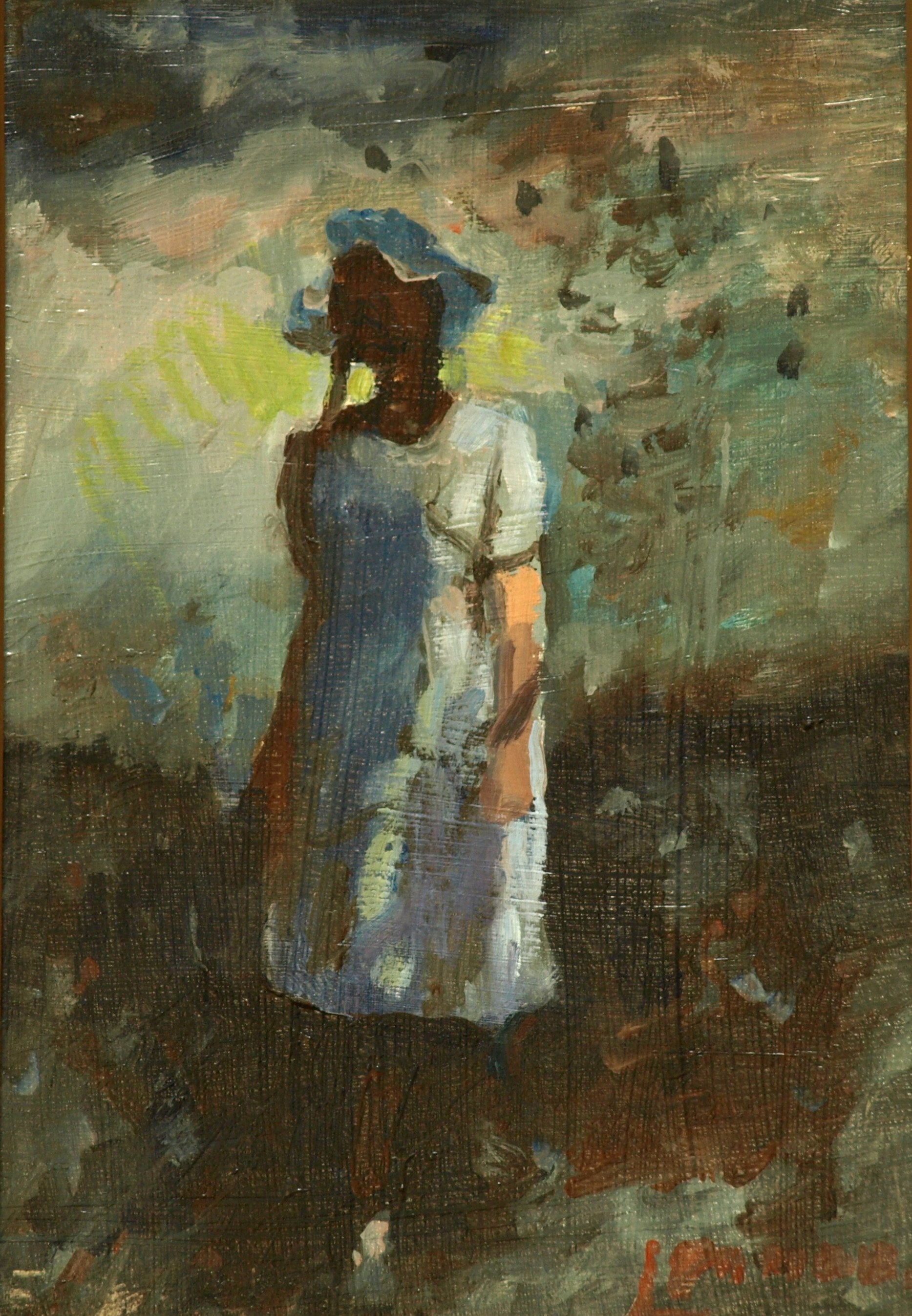 The White Dress, Oil on Panel, 12 x 8 Inches, by Bernard Lennon, $225