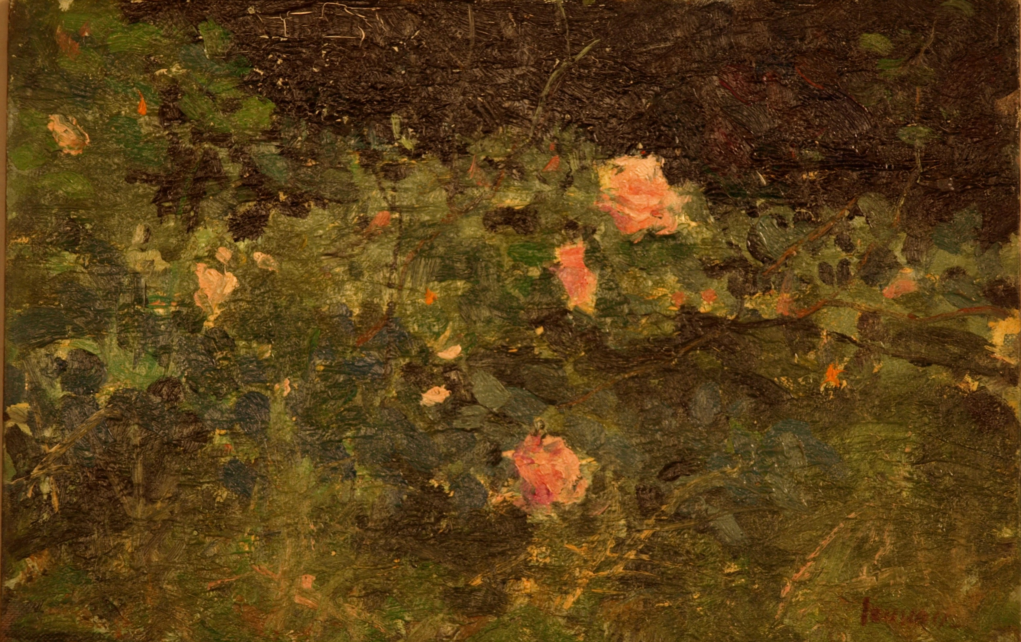 Wild Roses, Oil on Board, 8 x 12 Inches, by Bernard Lennon, $1000